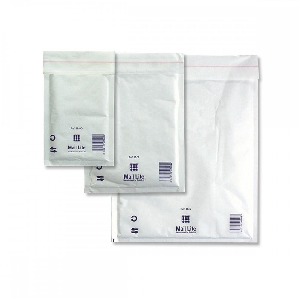 מעטפות מרופדות לבנות עם פס הדבקה 16*10 ס