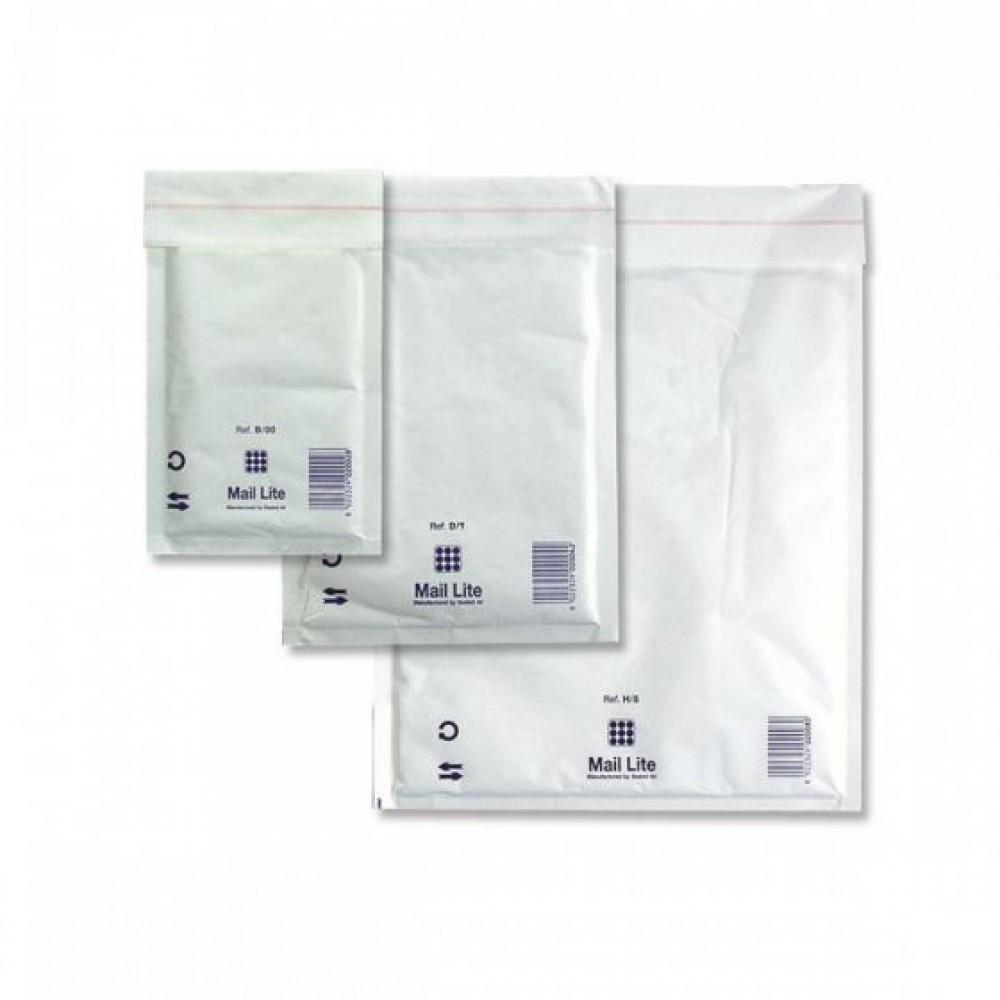 מעטפות מרופדות לבנות עם פס הדבקה 26*18 ס