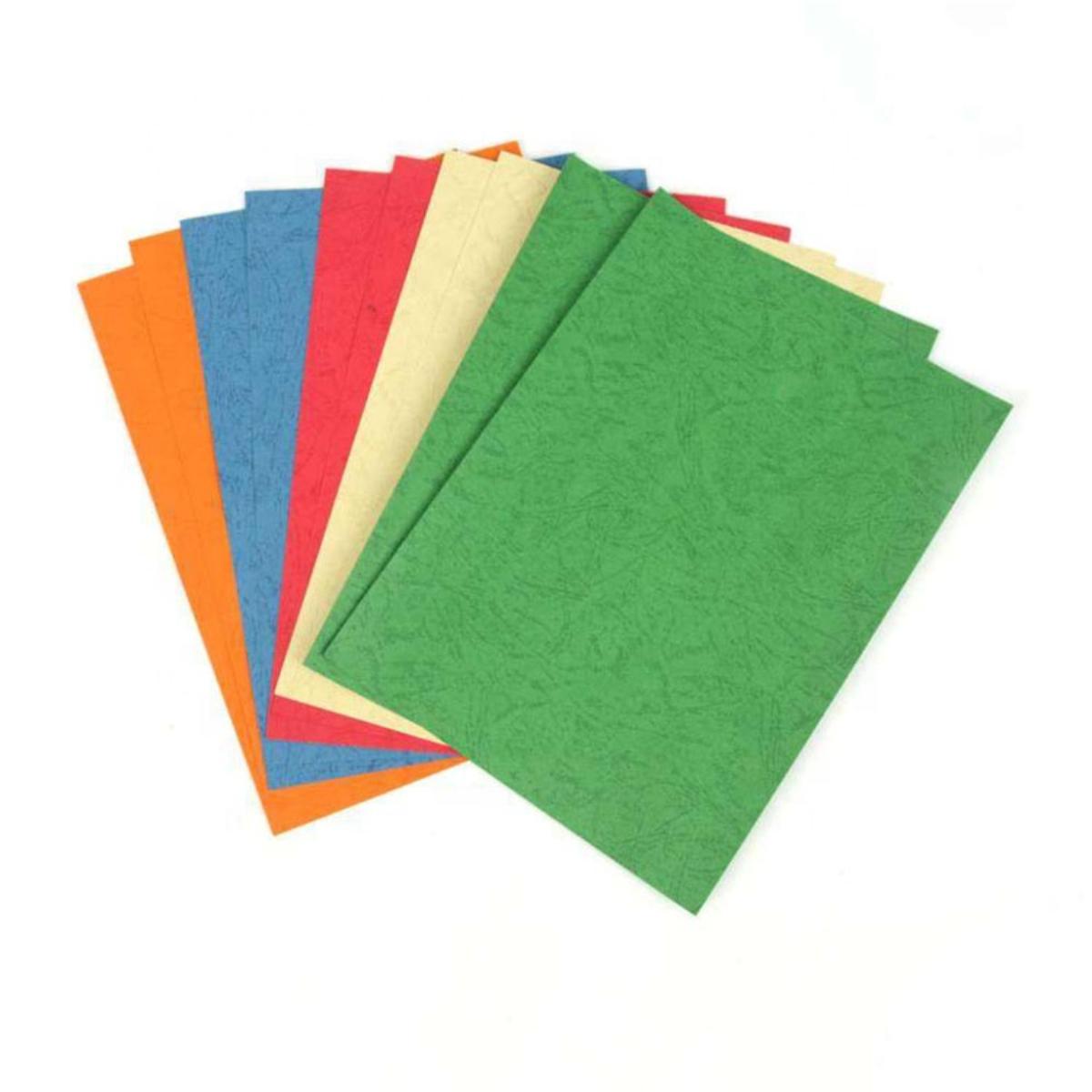 חבילת 100 דפים לכריכה דמוי עור צהוב