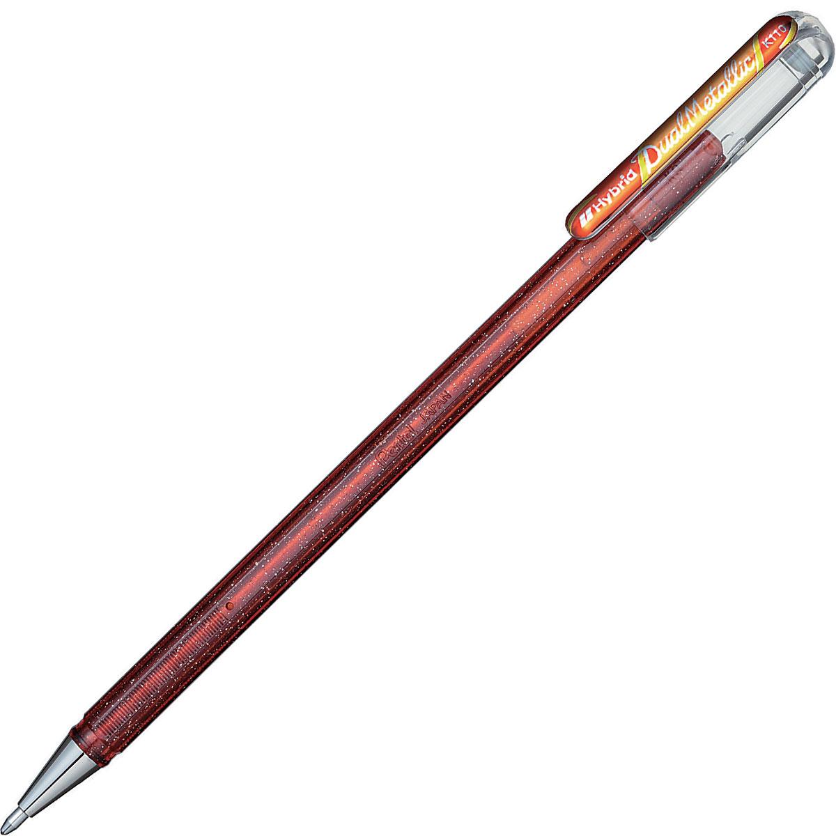 עט ג'ל כתום וצהוב מטאלי Pentel K110