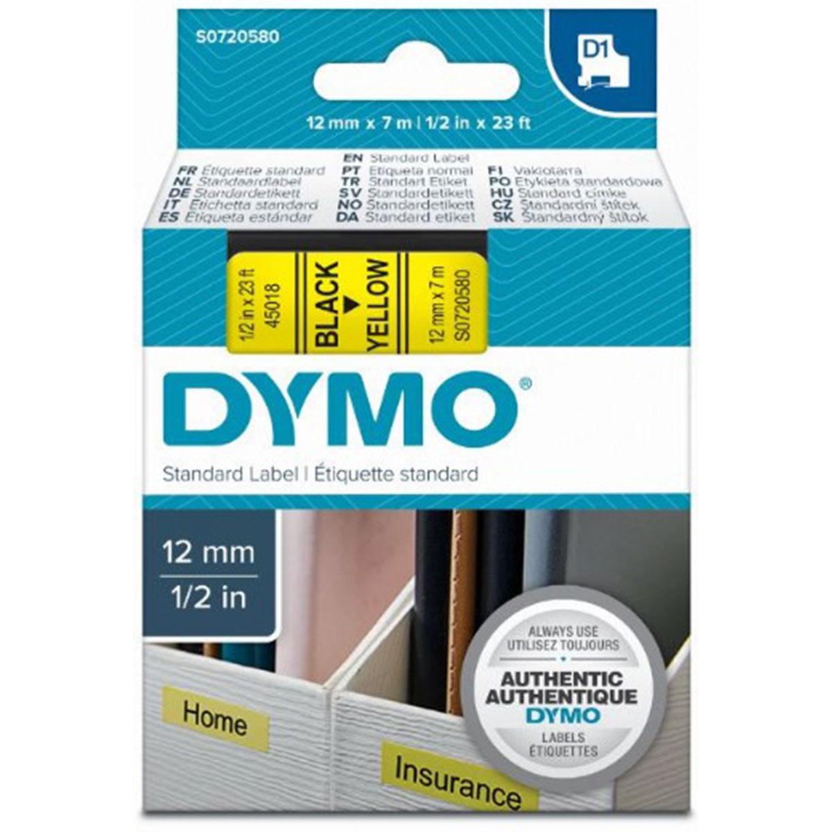 סרט שחור על רקע צהוב DX45018 Dymo