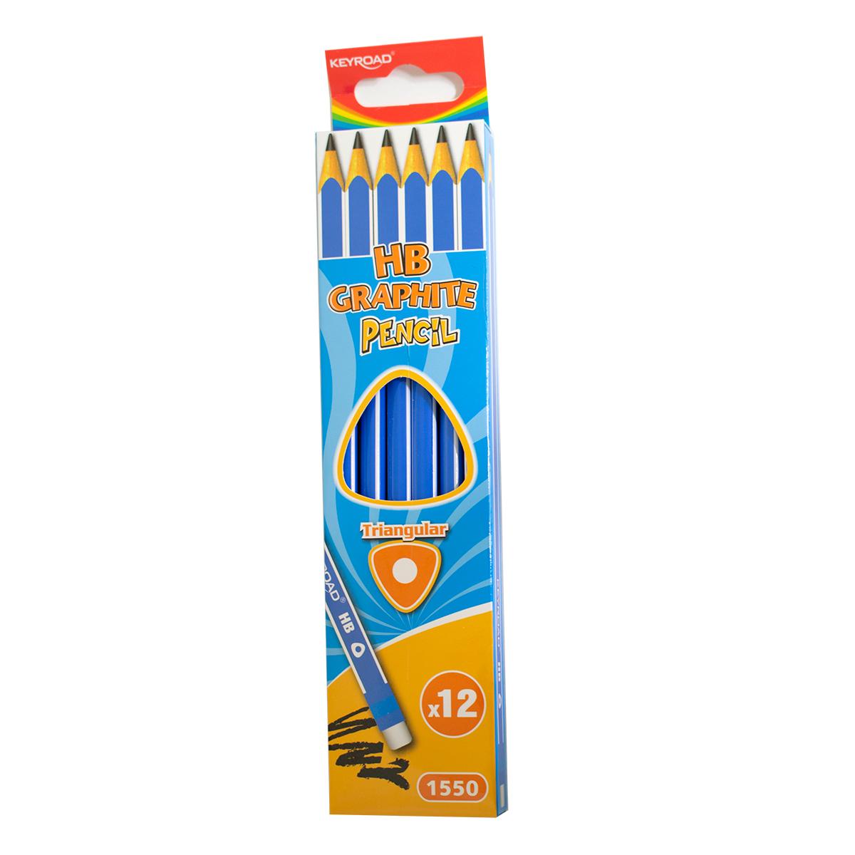 עפרון בצורת משולש עם מחק 12 יחידות