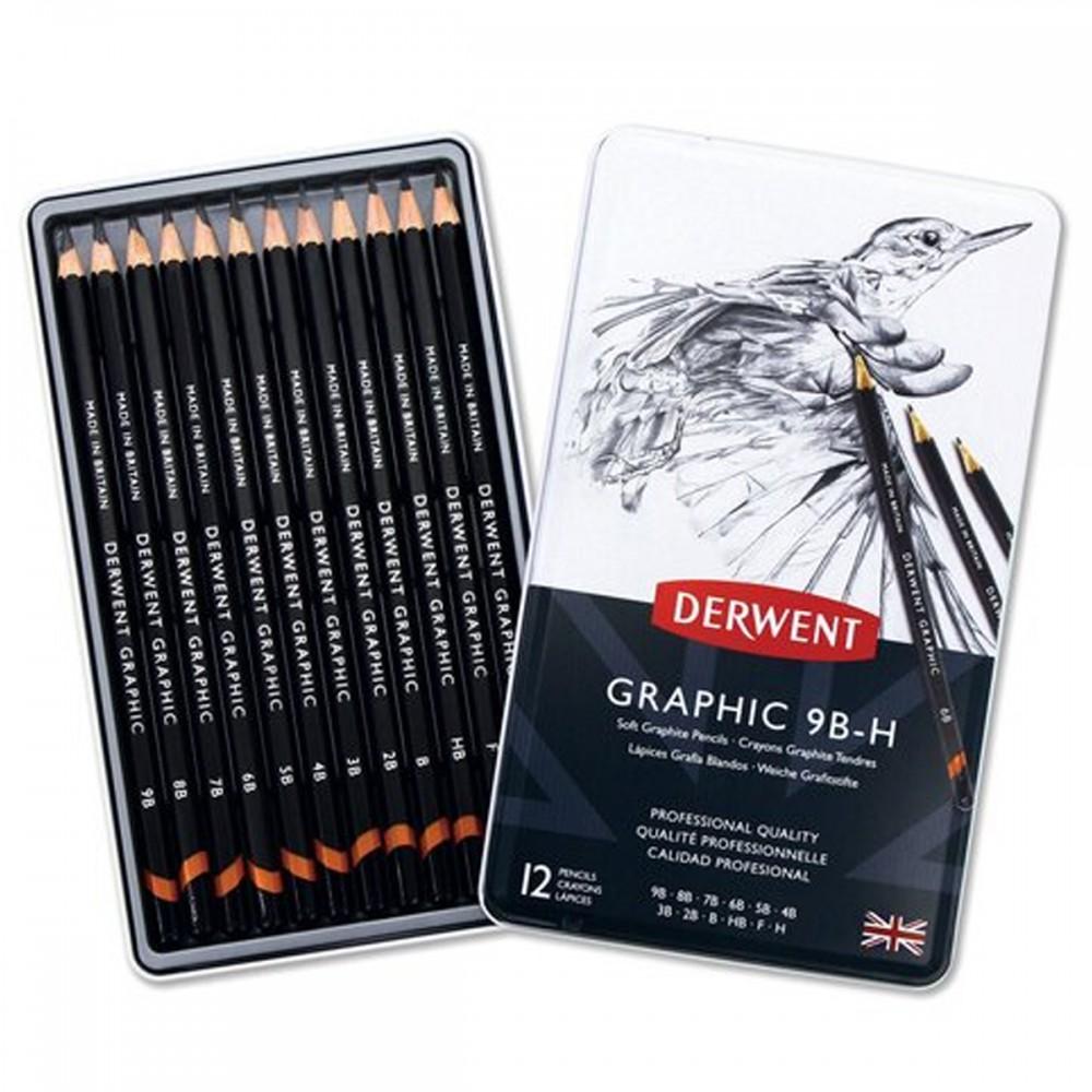12 עפרונות רכים Derwent Graphic