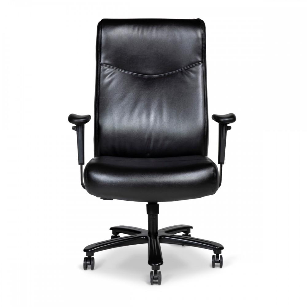 כיסא פרטו לכבדי משקל דמוי עור שחור