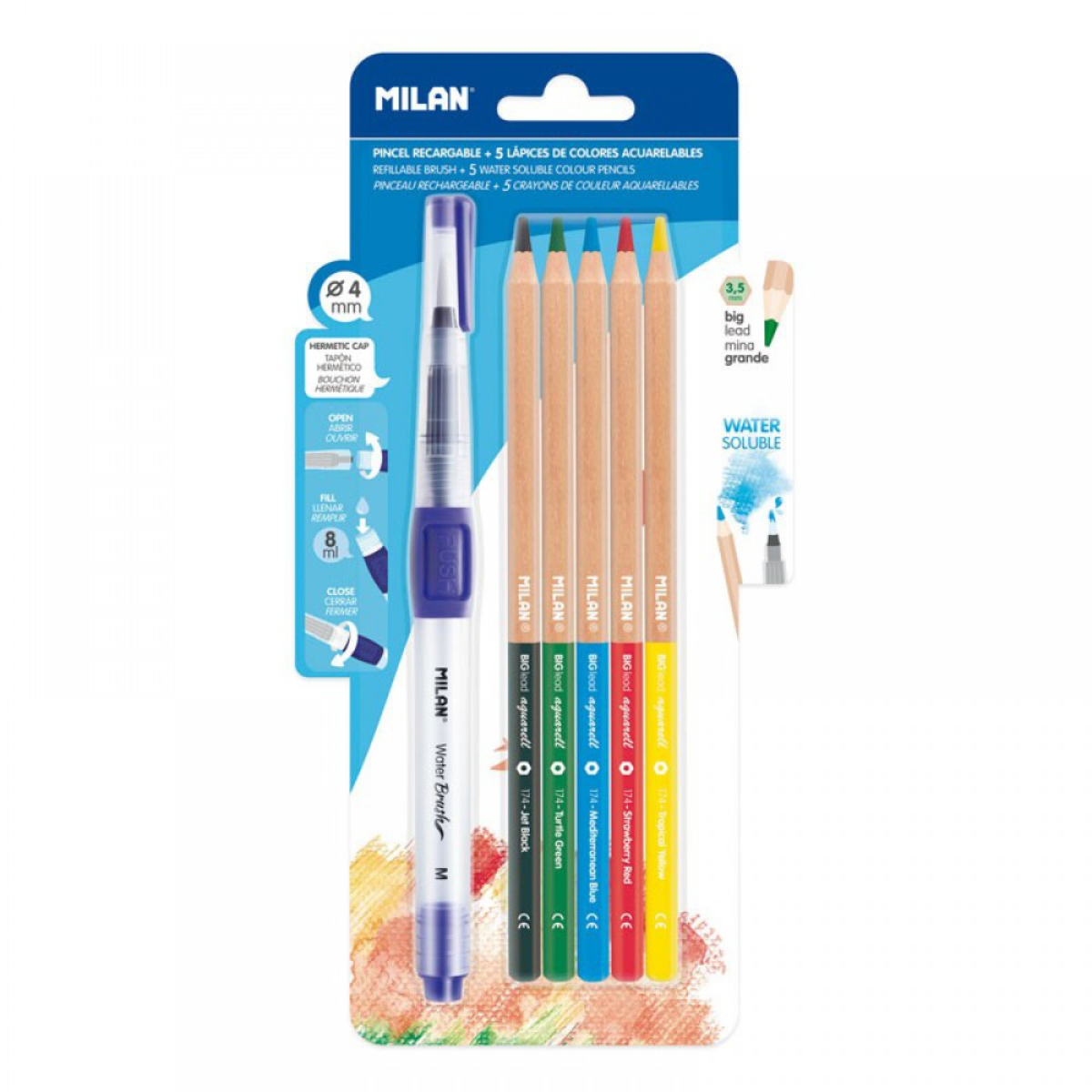 סט עפרונות צבעוניים עם מכחול מים Milan