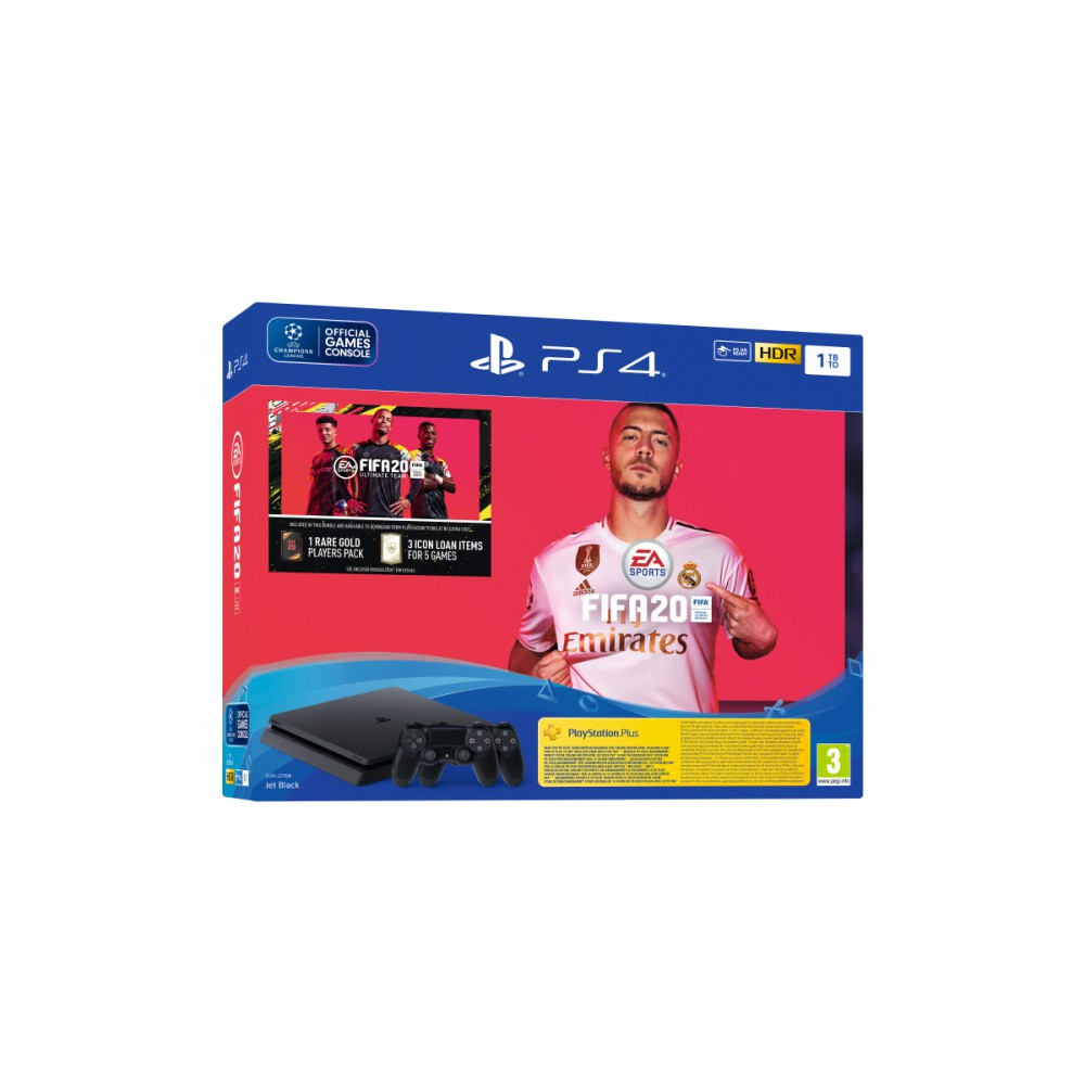 קונסולה PS4 SLIM 1TB עם זוג בקרים, פיפא 20 ותוכן בלעדי