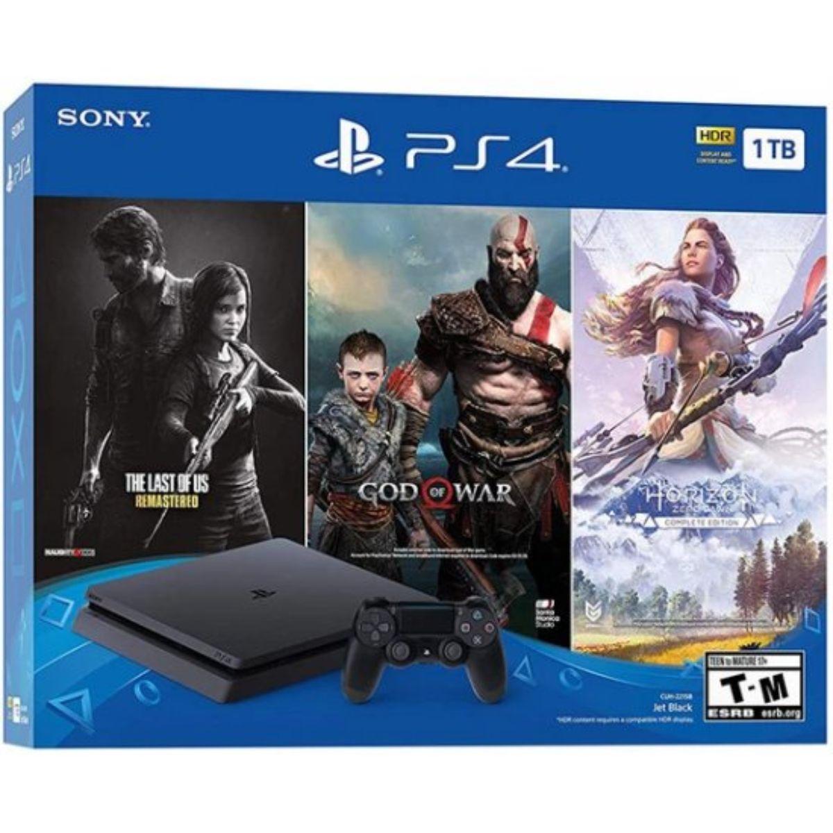 קונסולת משחק Sony PlayStation 4 Slim 1TB ושלושה משחקים