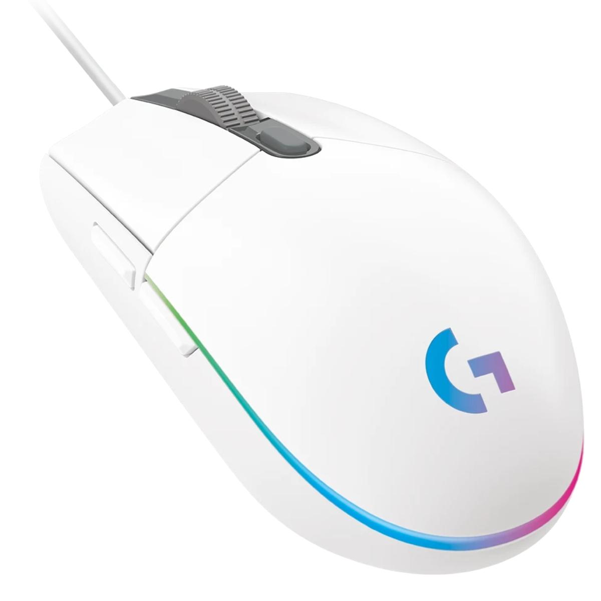 עכבר גיימינג חוטי לבן -LOGITECH G102 LIGHTSYNC