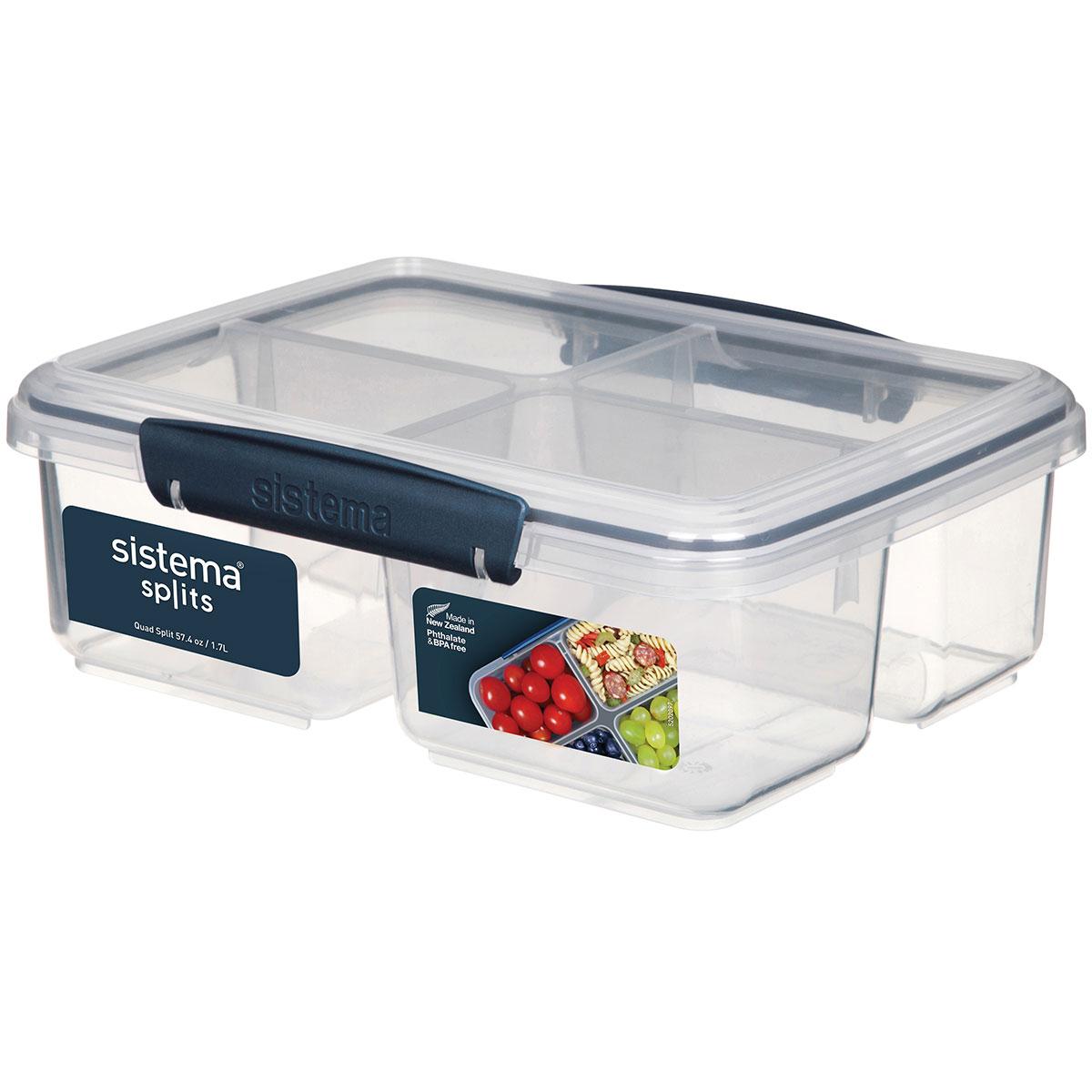 קופסת אוכל מלבנית כחול כהה מחולקת ל-4 1.74 ליטר