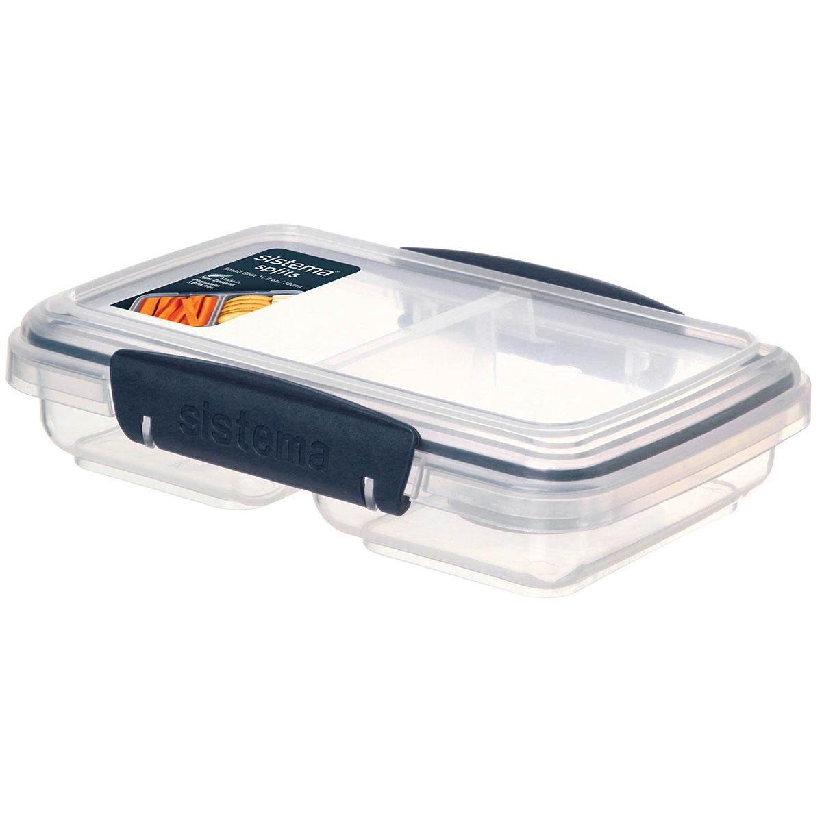 קופסת אוכל מלבנית כחול כהה מחולקת ל-2 350 מ