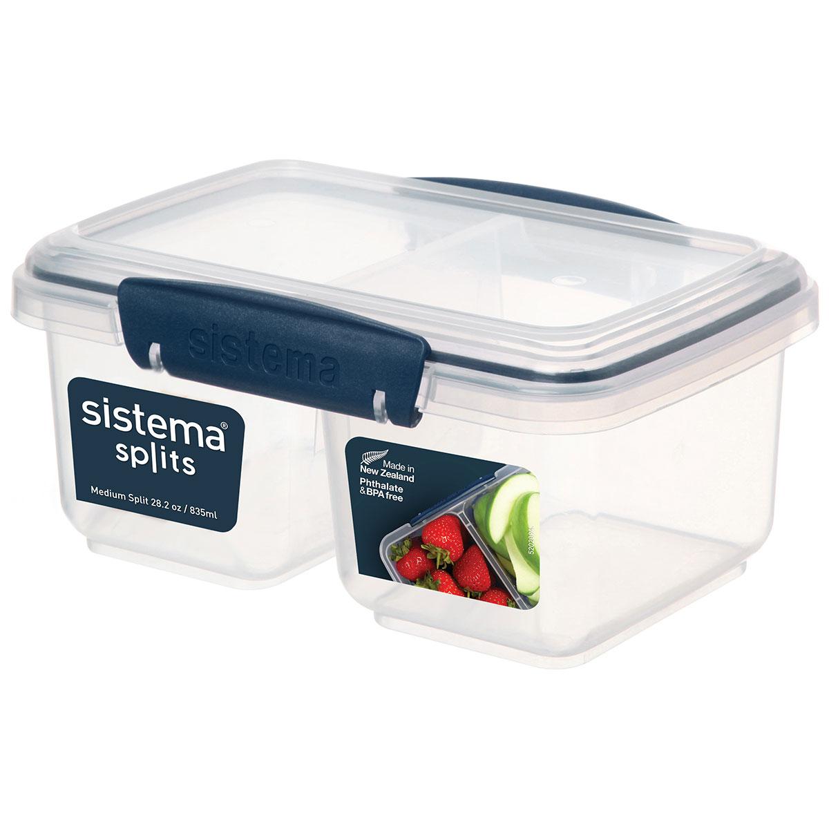 קופסת אוכל מלבנית כחול כהה מחולקת ל-2 835 מ