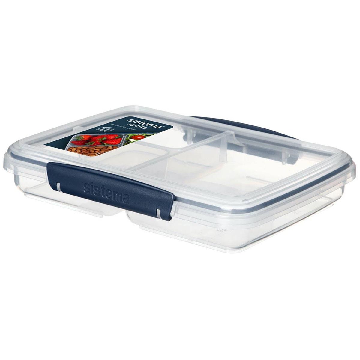קופסת אוכל נמוכה כחול כהה מחולקת ל-3  820 מ