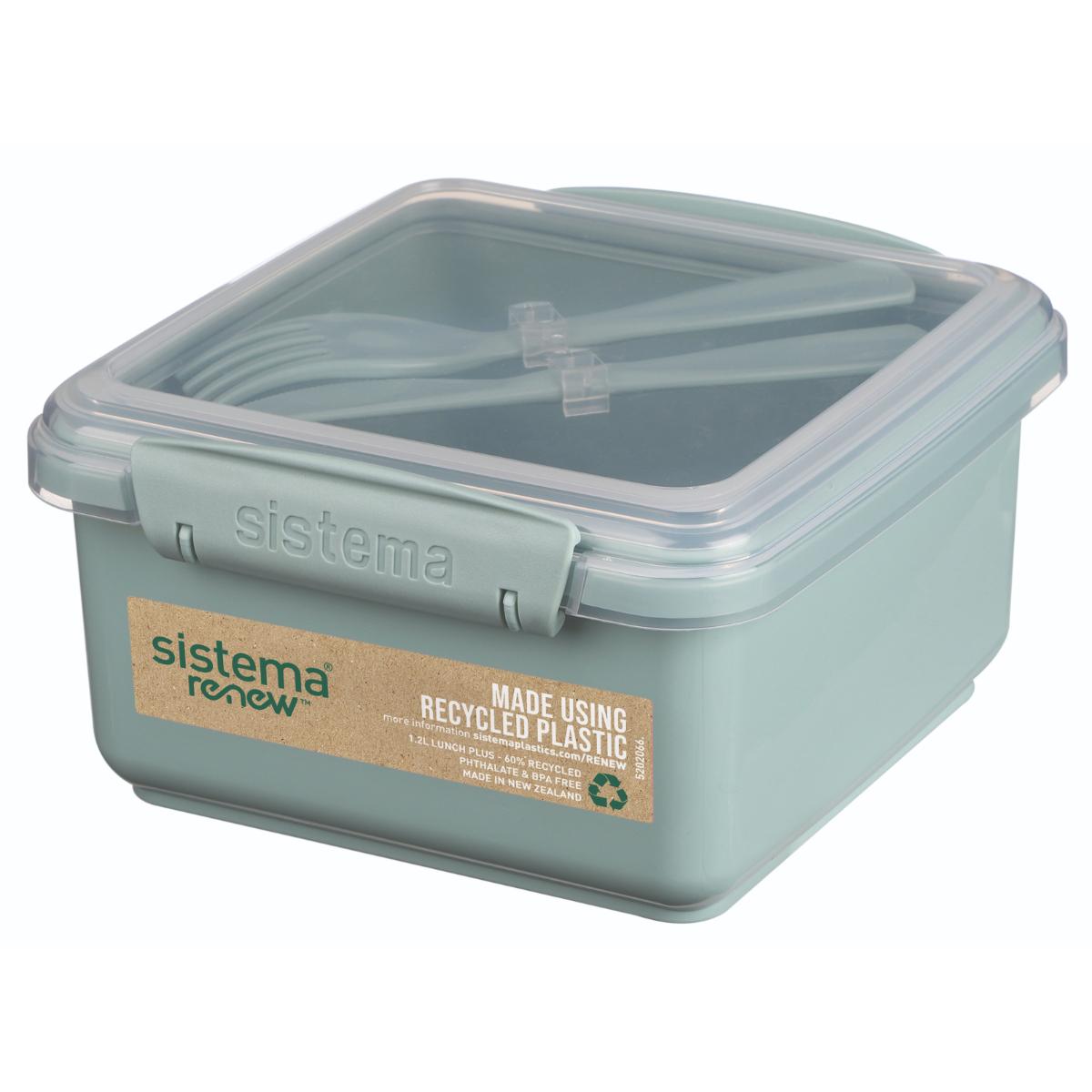 קופסת אוכל כוללת מזלג וסכין מעורב צבעים 1.2 ליטר