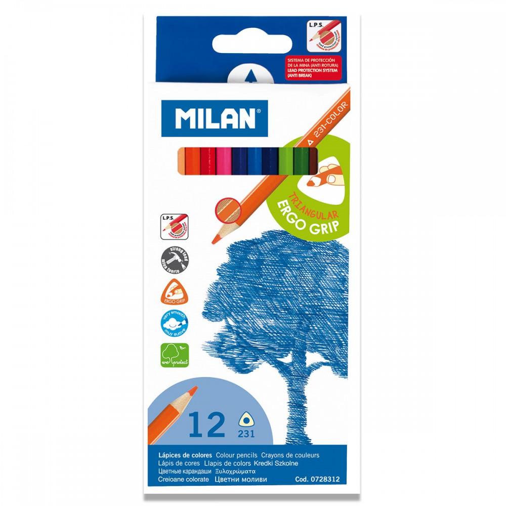 סט 12 עפרונות צבעוניים משולש Milan