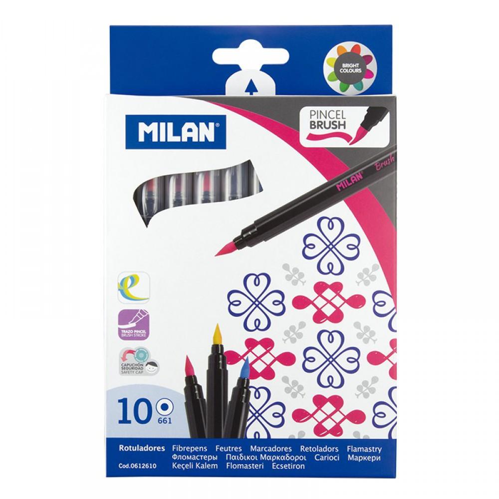 סט 10 טושי מכחול Milan